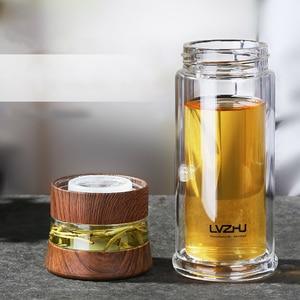 Image 5 - 400ML עסקים סוג מים בקבוק זכוכית בקבוק עם נירוסטה תה Infuser מסנן כפול קיר זכוכית ספורט מים כוס 35