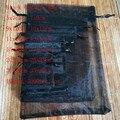 100 шт./лот черные сумки из органзы на шнурке, мешки для ювелирных изделий, подарочные пакеты, Рождественская Свадебная упаковка, подарочные п...