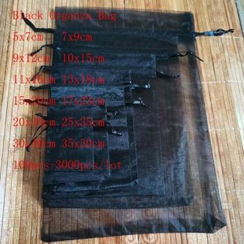 100 sztuk partia czarne torby sznurkiem Organza torby jubilerskie torby na prezenty torby świąteczne opakowania ślubne torby na prezenty i małe torebki tanie i dobre opinie ruiday CN (pochodzenie) Organza Jewelry Gift Bags 5x7cm 7x9cm 9x12 cm 0inch Opakowanie i wyświetlacz biżuterii Woreczki