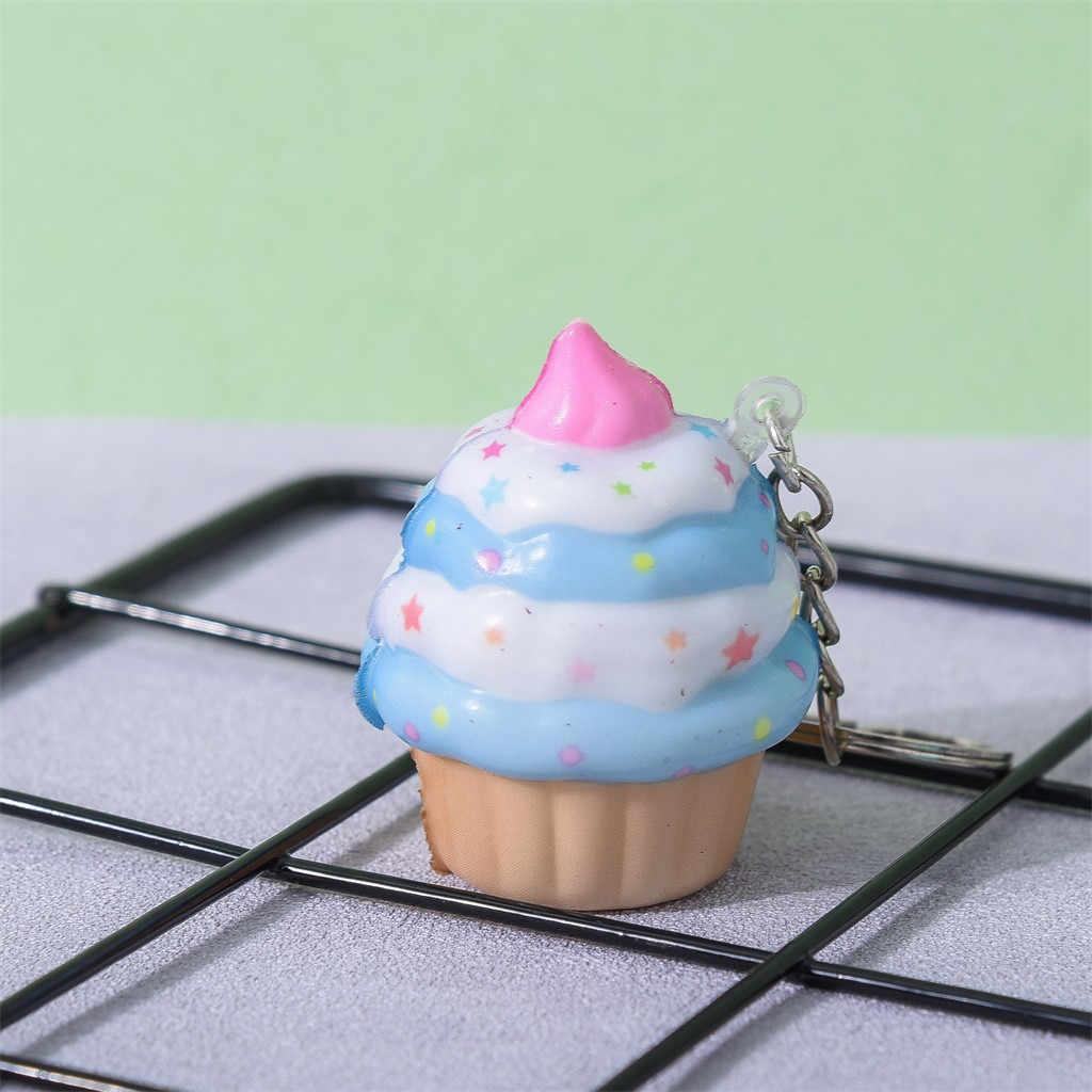 Kawaii Adorável Ice Cream Bolo de Creme com Aroma Chaveiro Lento Subindo Apaziguador do esforço Toy Simulação Bolo Alimentar Das Crianças caçoa o Presente # j