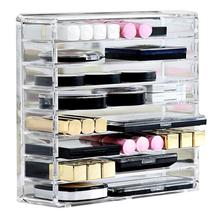 8-Grid Detachable Shelf EyeShadow Makeup Powder Blush Storage Box Acrylic Transparent Organizer Lipstick Cosmetic Organizer