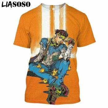 LIASOSO Anime 3D Print T Shirt Men Women Harajuku JoJo's Hip Hop Bizarre Homme Adventur T-shirt Rock Shirts Homme Tshirt E835