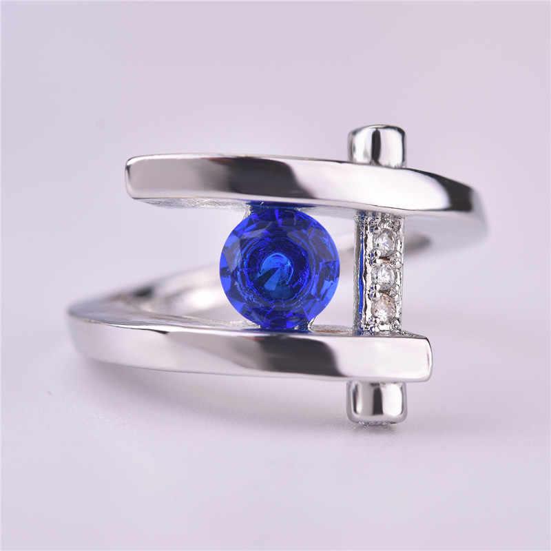 ユニークな新デザインシルバー色ブルーラウンドクリスタルジルコン結婚式の婚約指輪女性ギフト