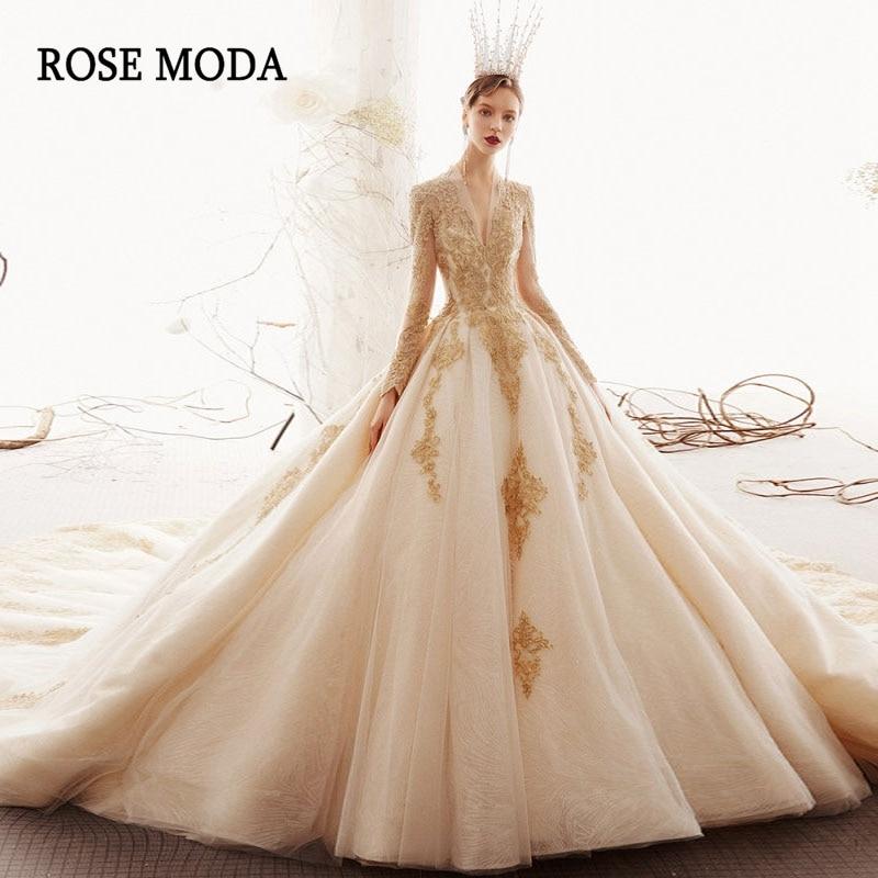 Rose Moda Luxury Long Sleeves Royal Wedding Dress 2020 Gold Lace Wedding Dresses With Long Train Custom Make