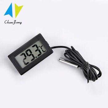 ChanFong-Mini termómetro Digital con pantalla LCD, probador para baño, refrigerador de tanque de peces de agua, sonda del Sensor de temperatura de 1M