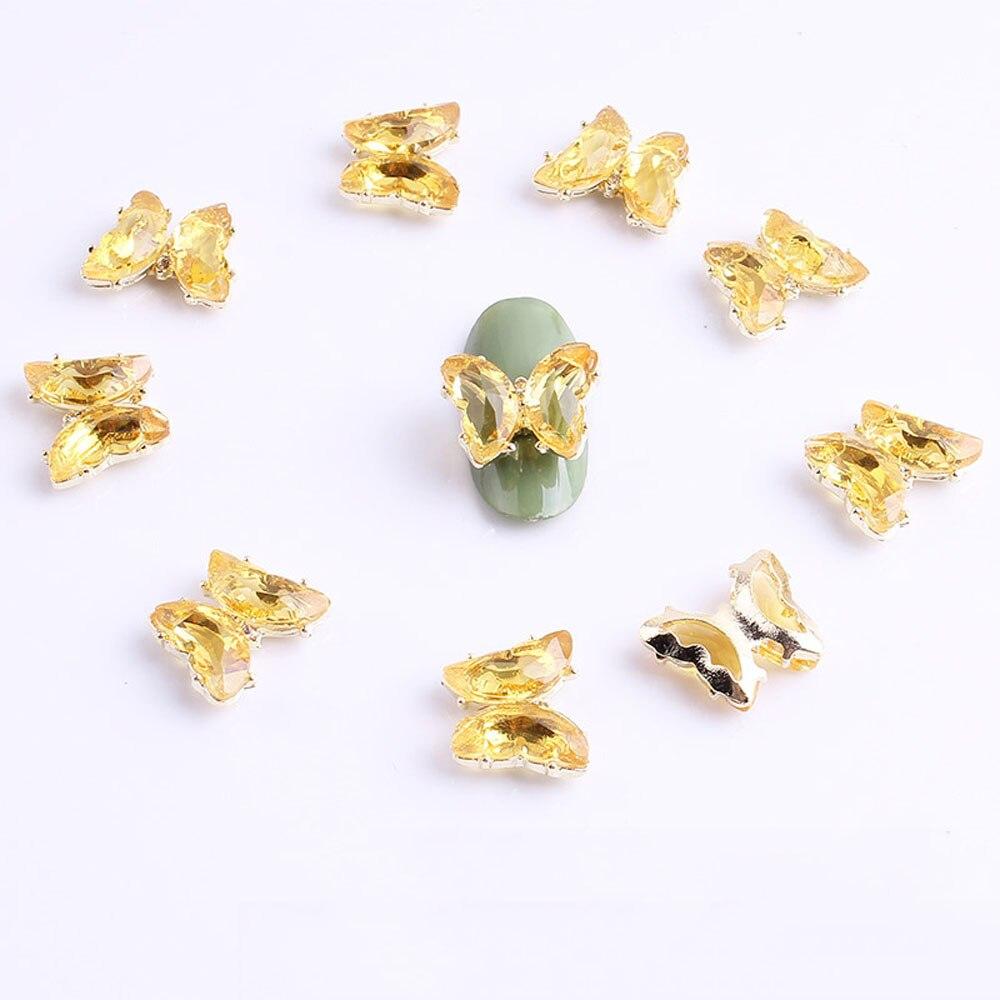 10 шт./компл. украшения для ногтей 3D 15*12 мм Подвески для ногтей хрустальные золотые бабочки голографические переводки для маникюра DIY Дизайн н...