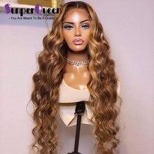 Peluca de cabello humano ondulado con reflejos, pelo brasileño con cierre 4x4, 4/27 prearrancado, 13x1 T, pelucas de cabello humano de colores