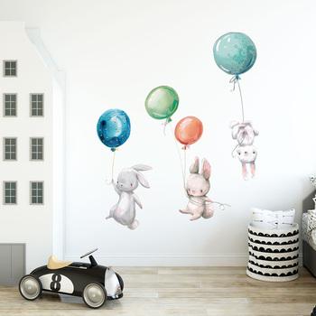 Wielkanocne króliki ściana z balonami naklejki DIY Bunny tapety naklejki do pokoju dziecięcego Mural przedszkole dla dzieci dekoracje do wnętrz do sypialni tanie i dobre opinie CN (pochodzenie) Płaska naklejka ścienna cartoon Naklejki na meble WALL Zwierząt