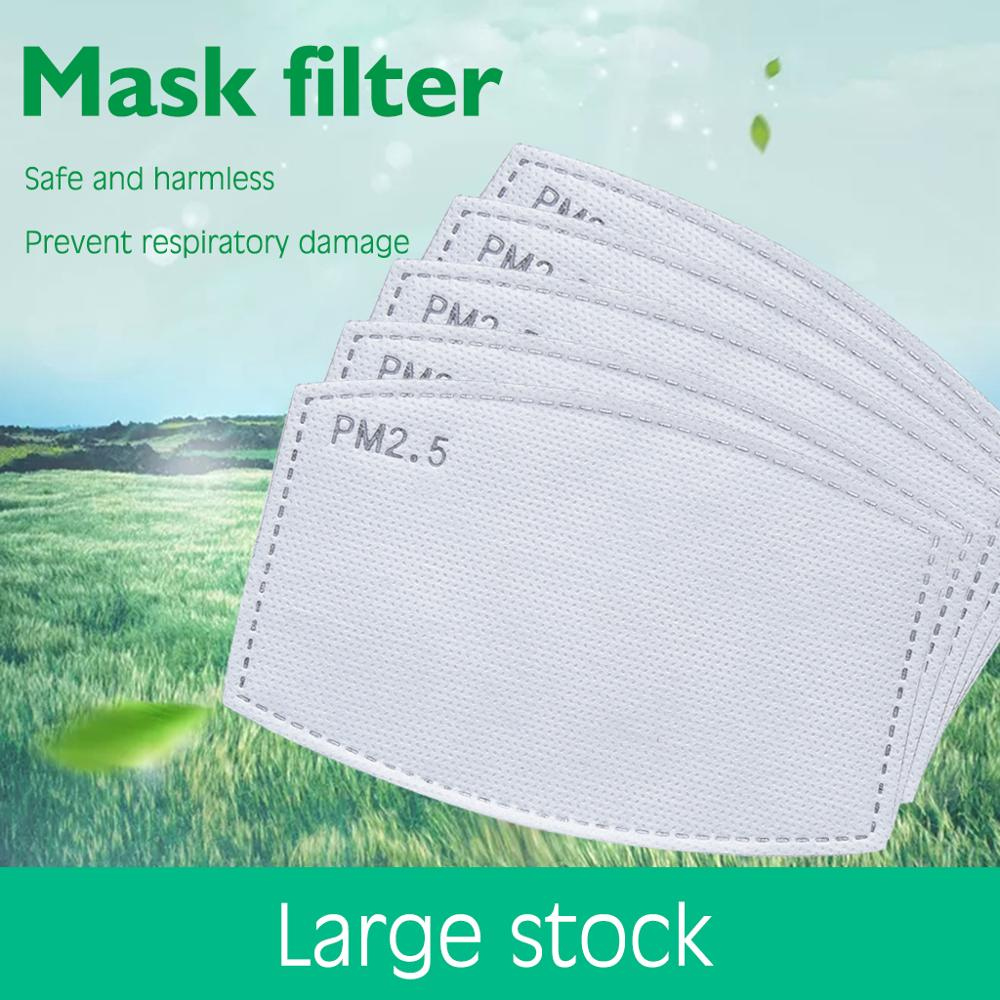 100pcs PM2.5 Filter Paper Anti Haze Bacteria Proof Mouth Mask Replacement Anti Dust Anti Pollution Face Mouth Mask Filter Paper