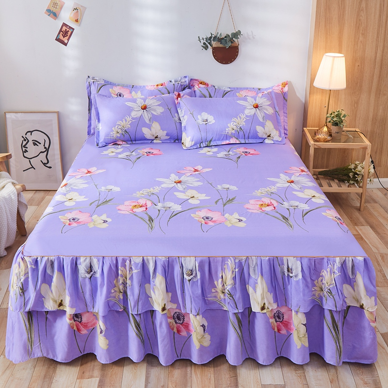 1pcs Quality Thicken Elastic Non-Slip Bedspreads Sheet Floral Prints Ruffle Bed Skirt Soft Mattress Cover No Pillowcase