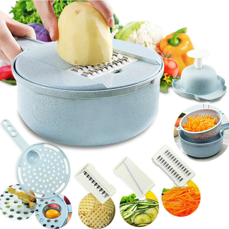Mandoline Slicer Vegetable Cutter Potato Carrot Grater Chopper Shredders with Strainer 8 in 1 Kitchen Accessories Gadgets Tools