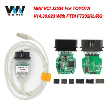 MINI VCI dla TOYOTA TIS Techstream V14 30 023 minivci FTDI dla J2534 OBD OBD2 samochód diagnostyczny Auto skaner MINI-VCI kabel tanie i dobre opinie JFIND Mini vci V14 30 023 FTDI FT232RL RQ 5w-10w Plastic Kable diagnostyczne samochodu i złącza 0 15kg V14 20 019 12v-24v