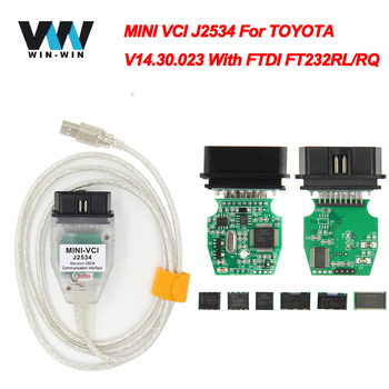 V12.20.024 última versión MINI Interfaz VCI PARA TOYOTA TIS Techstream J2534 minivci FT232RL Viruta OBDII OBD2 herramienta de diagnóstico