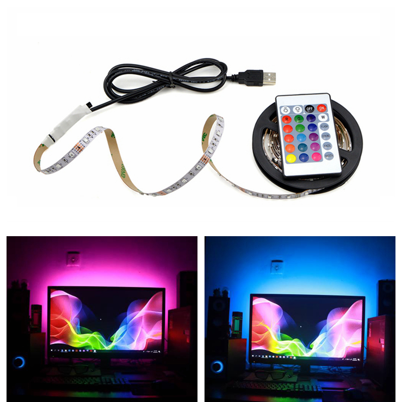 RGB Light led strip For Kicthen USB Lamp 1M 2M 3M 4M 5M Waterproof Neon Led Lights for Cabinet TV Backlight Night Lamp LED Diode(China)