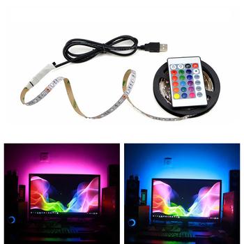Taśmy oświetleniowe led RGB do Kicthen lampa USB 1M 2M 3M 4M 5M wodoodporne neonowe diody Led do szafki podświetlenie TV lampka nocna dioda LED tanie i dobre opinie AIMENGTE Sypialnia 50000Hrs Zawsze na 3 84 w m Epistar RGB White Warm White 12 v Smd2835 DC5V Flexible LED light Tape Ribbon