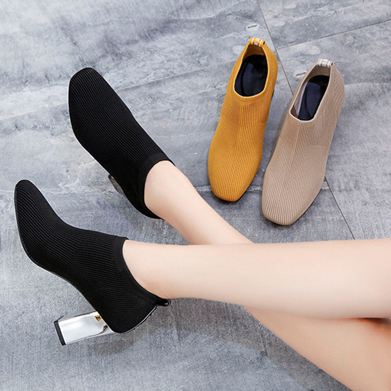 HEE GRAND Women Stretch Knit Fabric Pumps Breathable Comfort High Heel Shoes Square Toe Slip On Silver Heel Shoes WXG727