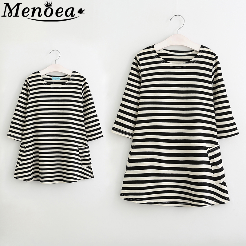 Family Dress 2019 Style Spring Matching Outfits Mother Or Daughter Dress Casual Fall Full Sleeve Black And White Striped Dress