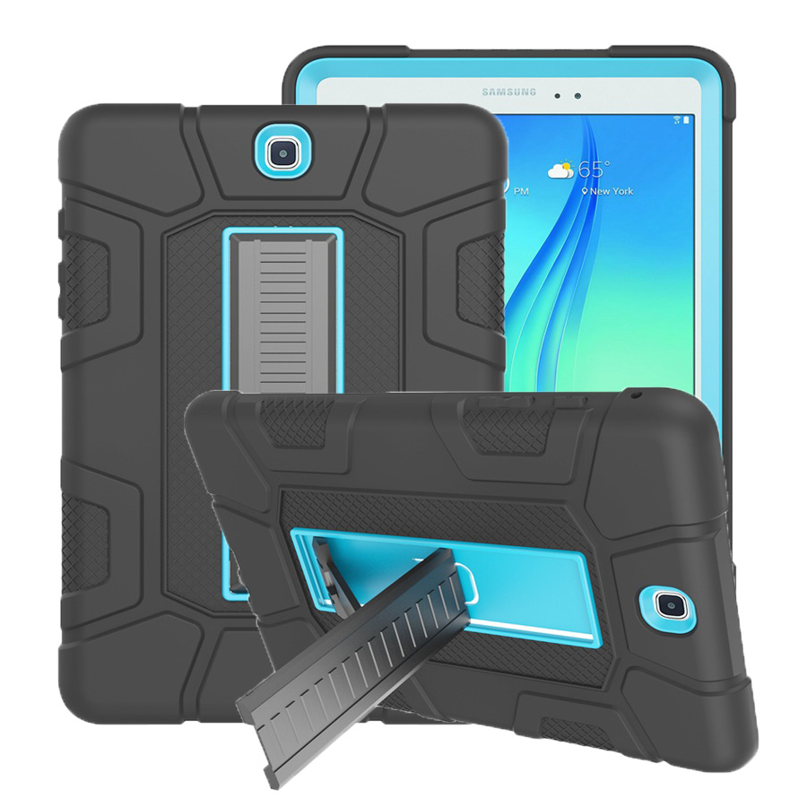 New Silicon Shockproof Stand Skin Shell Armor Case For Samsung Galaxy Tab A 9.7 SM-T550 SM-T555 T550 P550 Tablet Case+Film+Pen