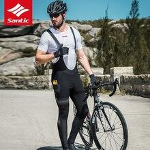 Santic Cycling Pants Men Pro Team Bike Bib Thermal Fleece Windproof Warm Bicycle Long Bermuda Ciclismo M8C04104