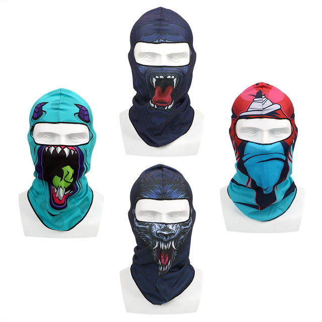 Full Face and Neck Coverage Windproof Sun-protection Dust Protection Motocycle Mask Unisex Balaclava 3D Animal Summer Breathable