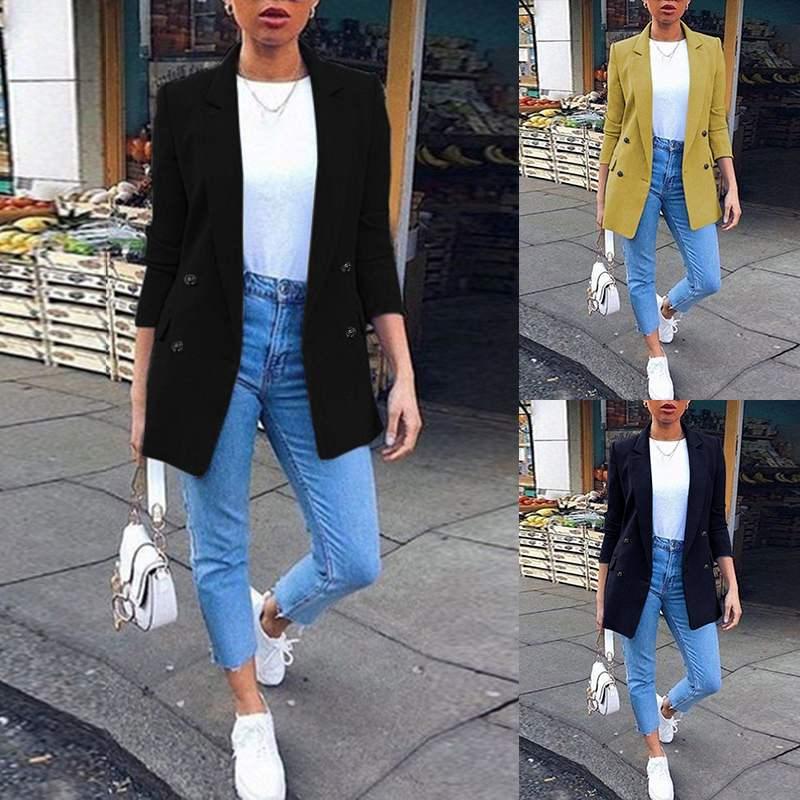 ZANZEA 2019 Women Office Work Coat New Fashion Blazers Lapel Neck Solid Pockets Overcoat Loose Pockets Chaquetas Mujer Plus Size