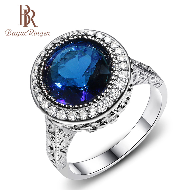 Bague Ringen Classic Silver Ring For Charm Lady With Round Shape Gemstones Silver 925 Jewelry  Women Wholesale Gift Size 6-10