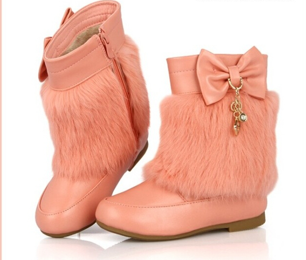 New 2020 Children Warm Ankle Boots For Winter With Butterfly-knot Hot Selling Fashion Snow Boots For Princess Girls