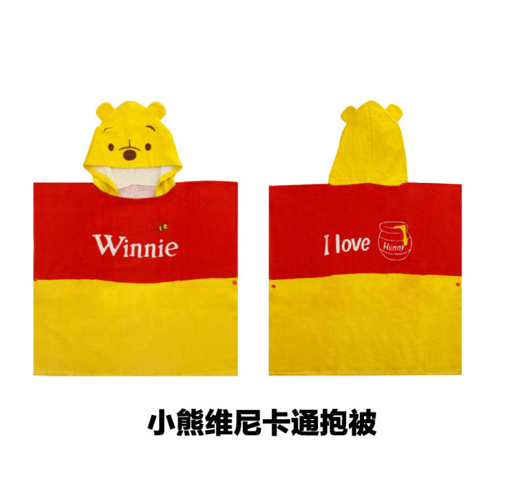 INS Hot Selling Wechat Business Cartoon Bath Towel Cloak Pure Cotton Hooded Bath Towel-Bear