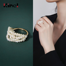Kinel 925 Sterling Silver Ring Natural Freshwater Pearl Rings For Women 18K Gold Custom Female Ring Fine Jewelry