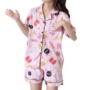 Womens Cotton Pajamas Set Turn-down Collar Pyjamas Short Sleeves Suit Soft Sleepwear Female Summer Cartoon Luna Moon Homewear