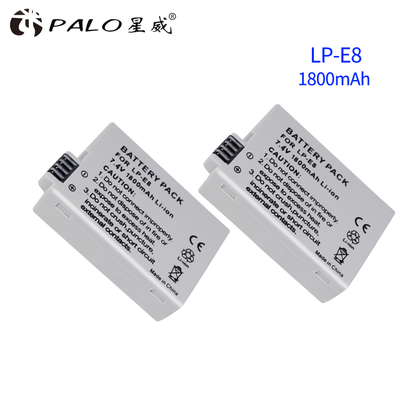 2pcs LP-E8 LP E8 LPE8 7.4V 1800mAh camera Li-Ion <font><b>battery</b></font> pack for <font><b>Canon</b></font> EOS 600D <font><b>650D</b></font> 550D 700D t4i T5i rebel T2i <font><b>Battery</b></font> DSLR image