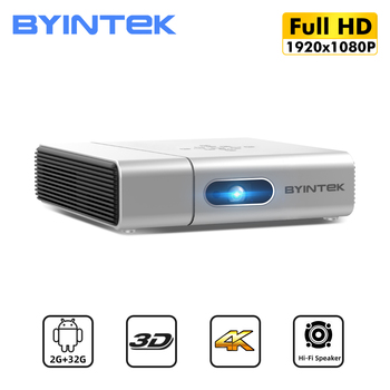 BYINTEK U50 Full HD 1080P lAsEr LED DLP Mini 3D 4K Android Smart Wifi Portable Projector Proyector for Smartphone Cinema orimag p6 portable smart mini dlp led wifi projector