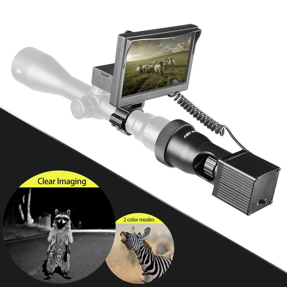 Linterna infrarroja Fire Wolf de 850nm, visión nocturna LCD de 5 pulgadas, mira óptica para caza y caza, mira telescópica táctica