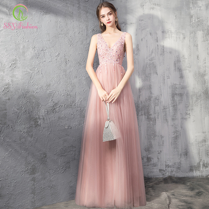 SSYFashion New Sweet Pink Evening Dress Sexy V-neck Sequins Beading Backless Floor-length Prom Formal Gown Vestido De Noche