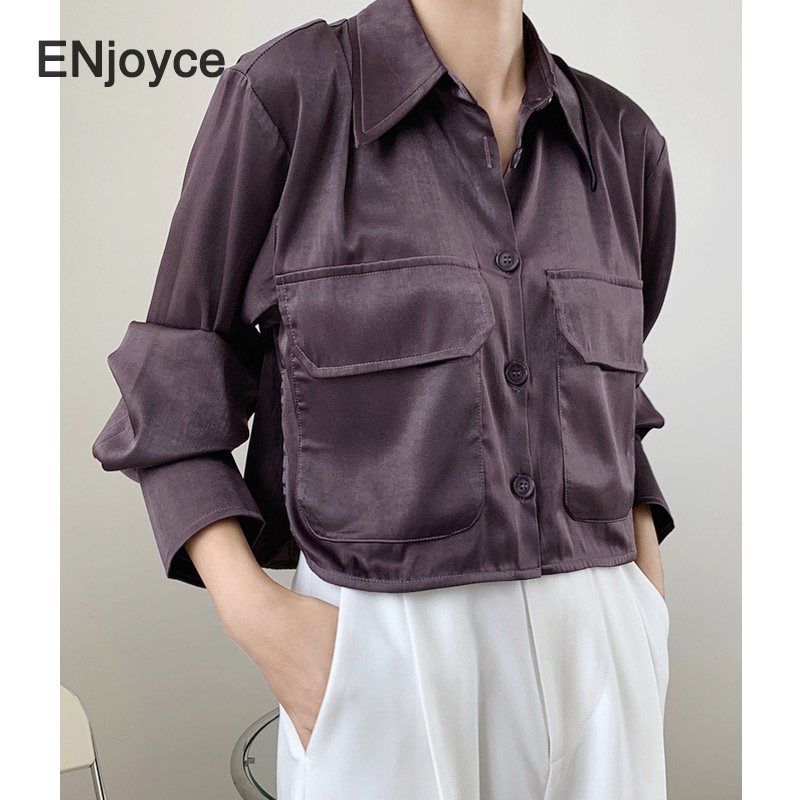2020 Autumn Women Blouse Vintage Purple Satin Long Sleeve Cropped Tops Turn-down Collar Pockets Chic Design Shirts New Arrival
