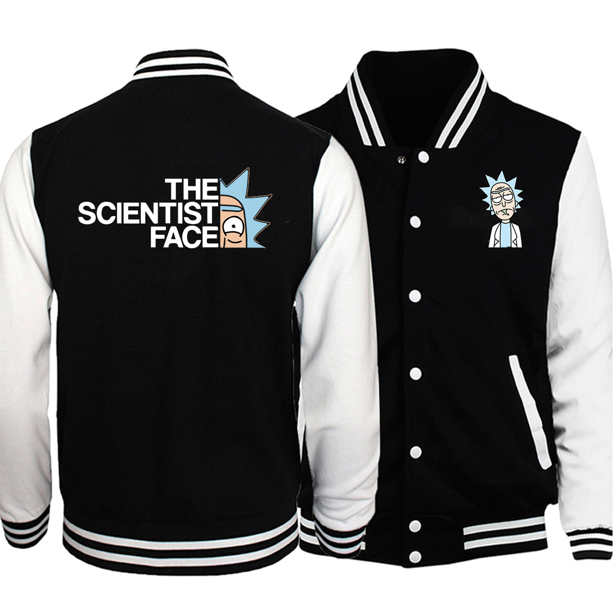THE SCIENTIST FACE Male Jacket Spring Autumn Fleece Streetwear Coat Rick And Morty Stylish Mens Baseball Uniform Military Bomber