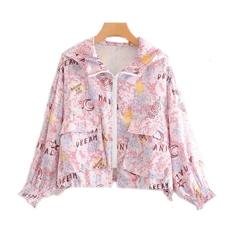 2019 New Long Mouth Prints Jas Casual Women Windjack Loosen Bomber   Jackets   Women Upwardrobe Retrieve Women   Basic     Jacket
