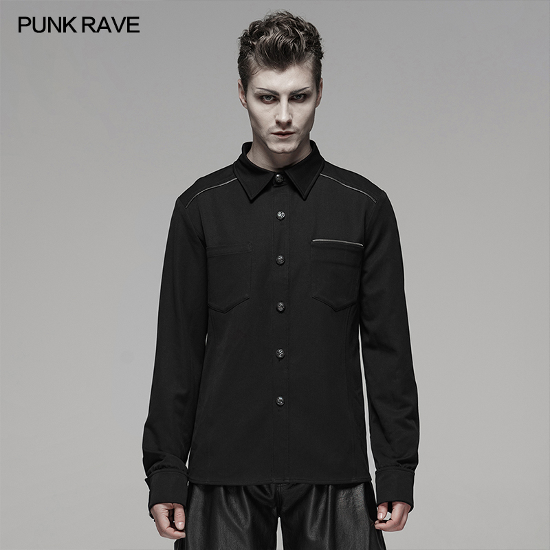 PUNK RAVE Men's Gothic Daily Black Casual Broken Hole Uniform Sweater Punk Cosplay Dark Visual Kei Halloween Men Sweaters