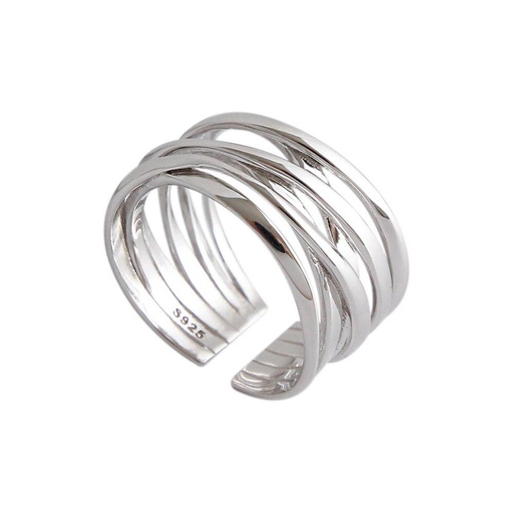 Andywen 925 en argent Sterling or ouvert croix cercle épais redimensionnable anneaux femmes mode luxe mode bijoux de mariage 2