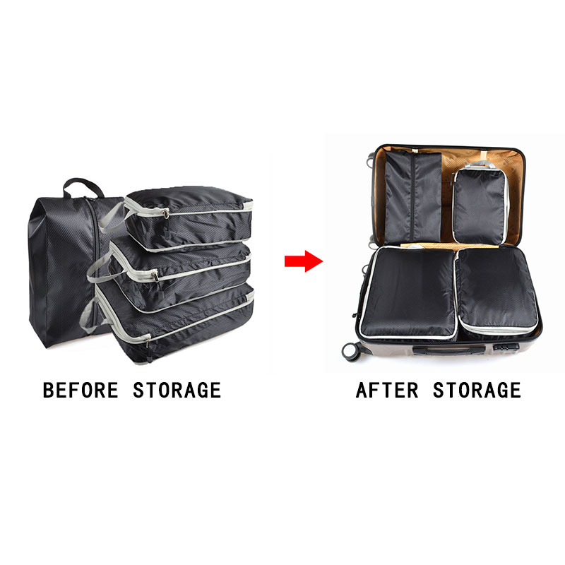 Compression Packing Cubes Travel Luggage Organizer Waterproof Double Zip Travel Bag Men Women Nylon Foldable Large Capacity Bags