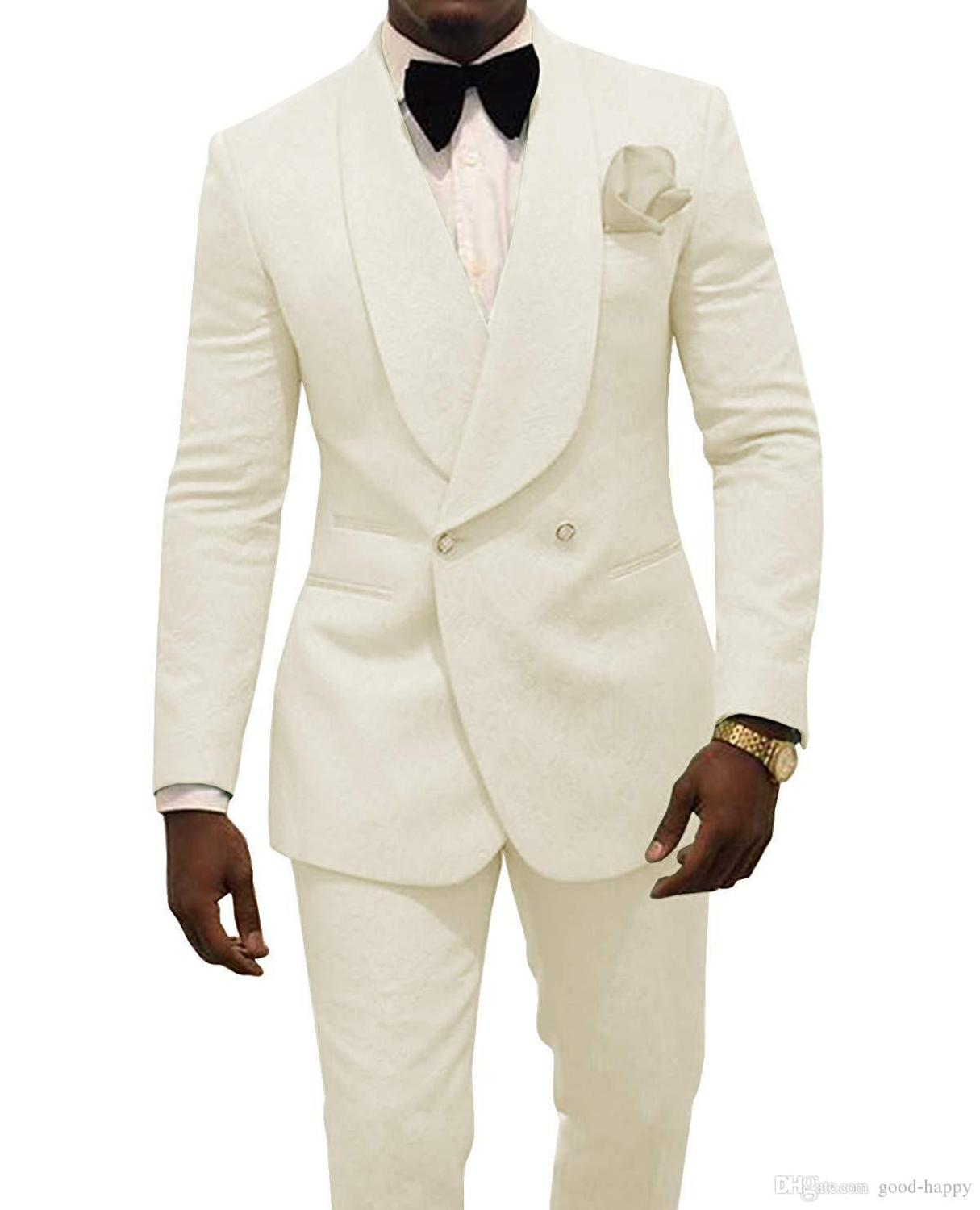 2019 Custom Made Ivory Jacquard Groomsmen Groom Tuxedos Double Breasted Men Suits Wedding Best Man Blazer 2 Pieces Costume Homme