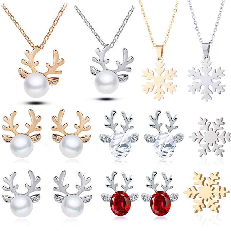 1Pair Earring Necklace Christmas Decor Reindeer Ear Stud Pendant Christmas Decorations For Home 2019 Navidad Ornament Xmas Gift