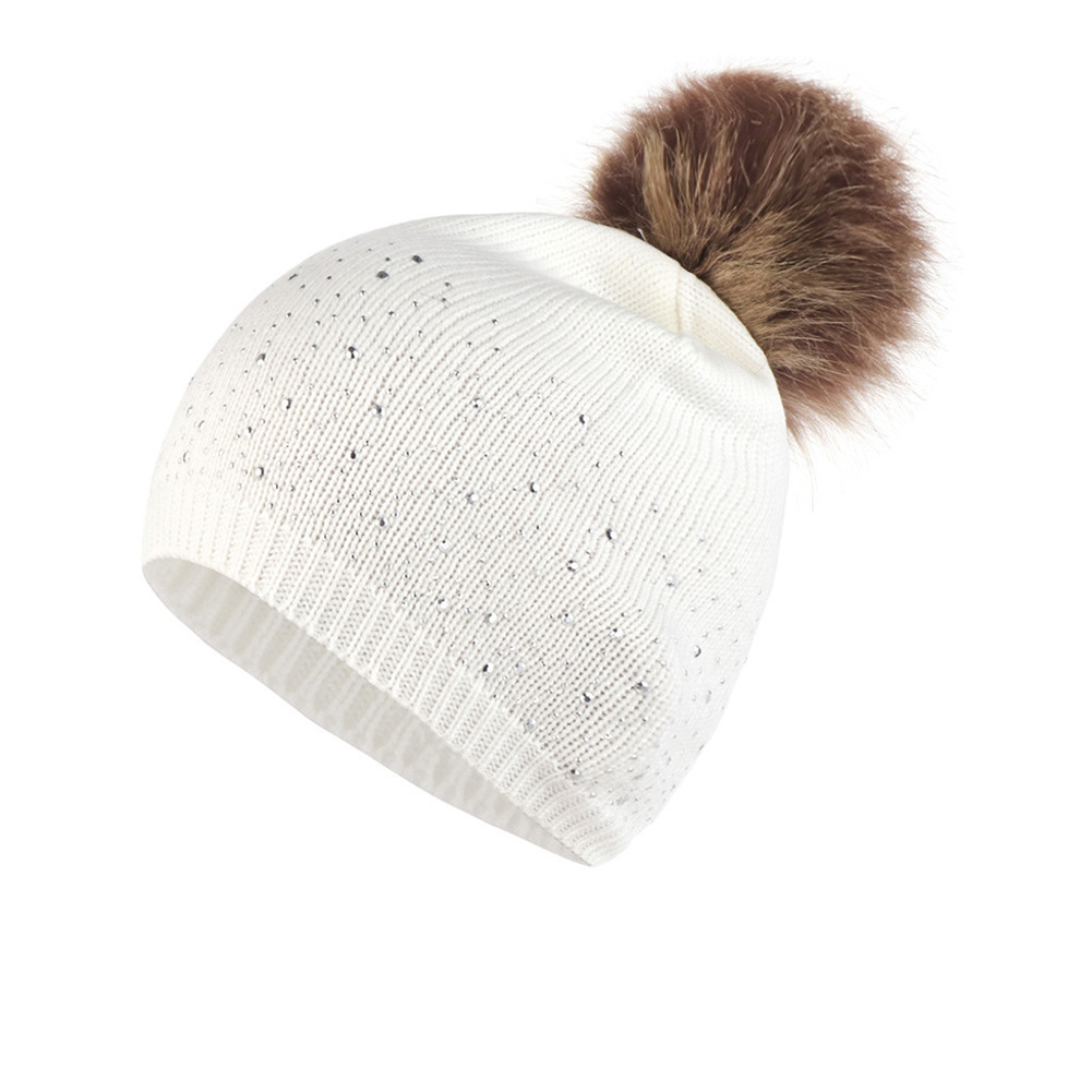 Women Soft Gifts Fashion Windproof Outdoor Autumn Winter Daily Casual Warm Knitted Hat Rhinestone Studded Plush Ball Elastic