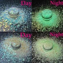 10 g/pacote brilho luminoso do prego glitter chunky lantejoulas 3d fluorescente brilho do prego brilho no hexágono escuro misturado-tamanho polonês dicas 001