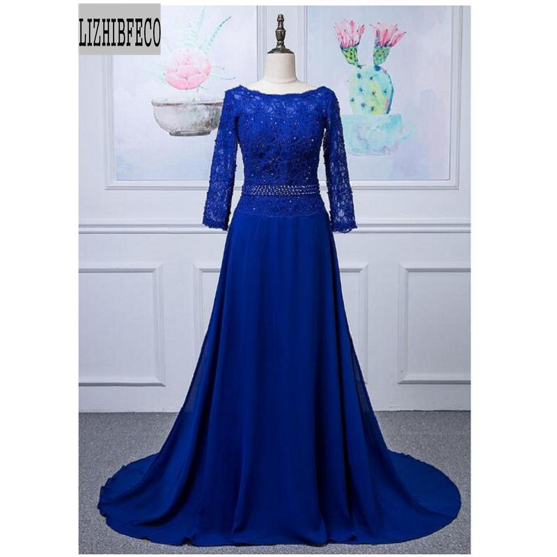 Royal Blue Lace Beading 3/4 Sleeves Floor-Length Mother Of The Bride Dress Chapel Train Custom Made