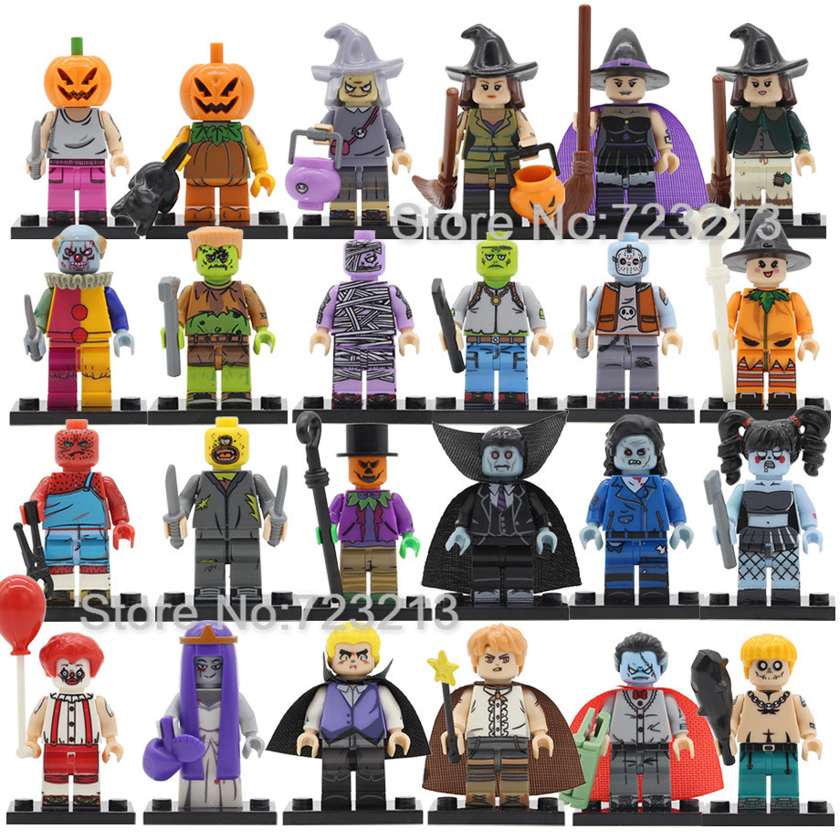 New Halloween Figure Clown Witch Monster Frankenstein Ghosts Pumpkin Vampire Jerff Mask Elson Building Blocks Brick Toys Legoing