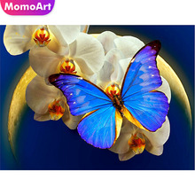 MomoArt DIY Diamond Painting Flowers Embroidery Butterfly Full Drill Square Mosaic Home Decoration Gift