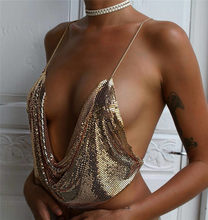 Top cropped sensual feminino, regata camisola frente única bralette com alças paetê dourado metalico elegante clube praia festa verão