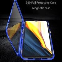 Funda magnética transparente para teléfono Oneplus 9 Pro, 8t, 7 Pro, 7T, Nord N10, N100, 5g, funda de parachoques de Metal, funda de vidrio templado para teléfono