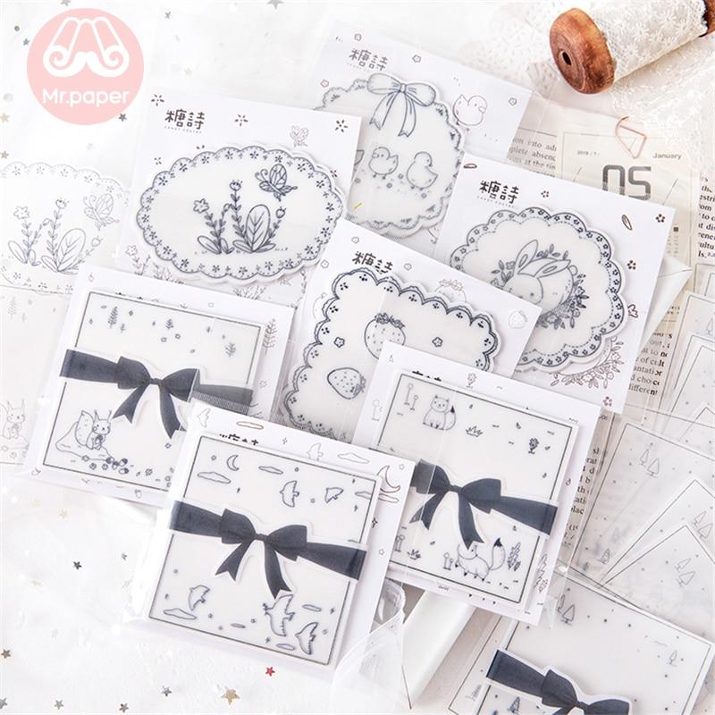 Mr Paper 30pcs/lot Lovely Cartoon Animal Bowknot Memo Pads Transparent Sulfate Butter Paper Bullet Journal Loose Leaf Memo Pads